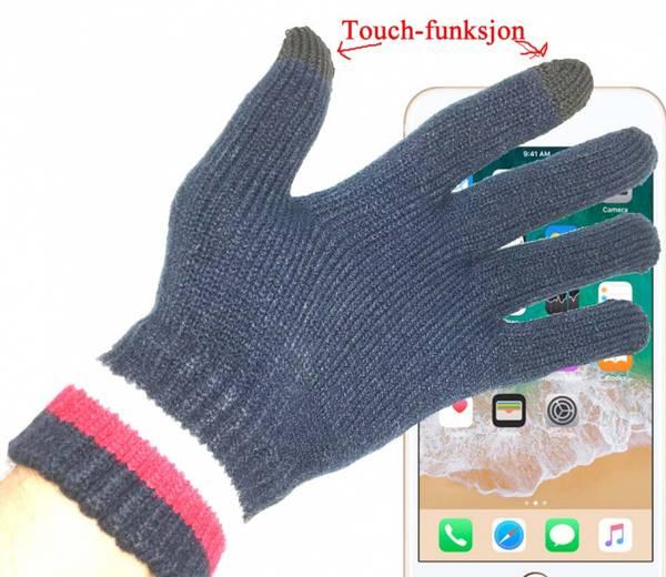 Bilde av Strikkevanter, blå, med touch funksjon