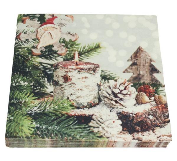 Bilde av Servietter, lys og julenisse