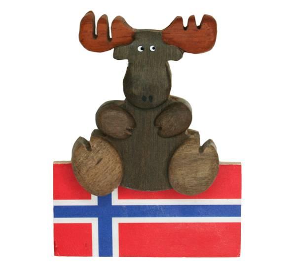 Bilde av Magnet, brun elg og flagg