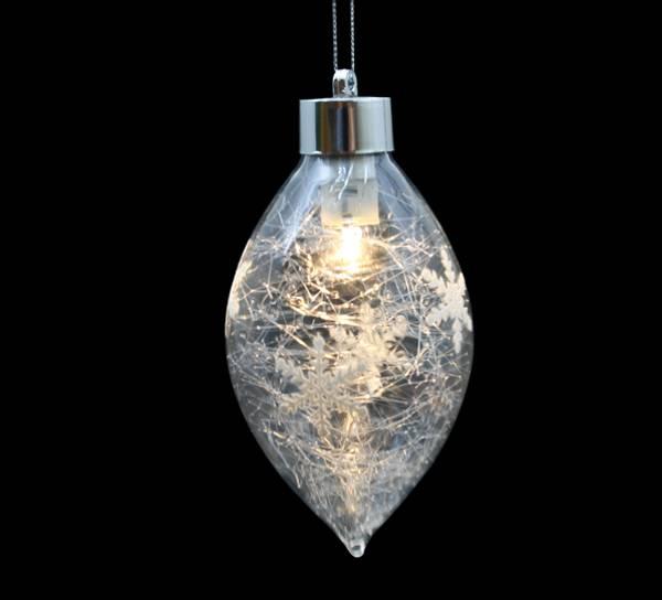 Bilde av Dråpeformet glasskule med LED lys