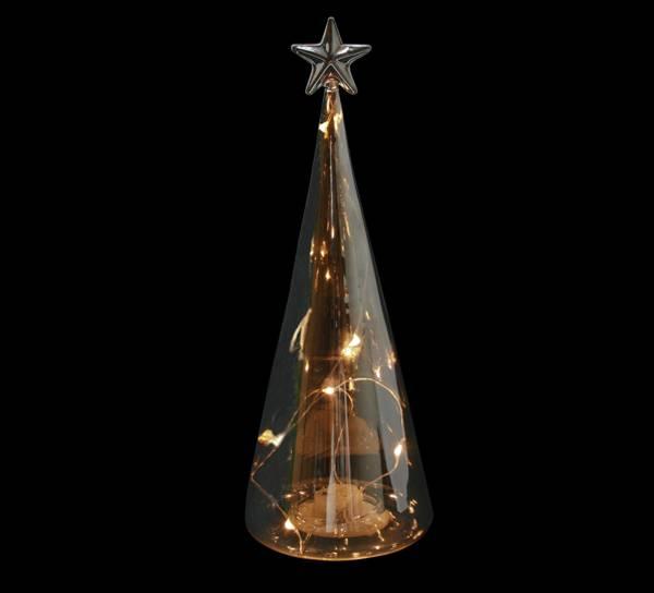 Bilde av Glasstre sotet med LED lys og stjerne, stort