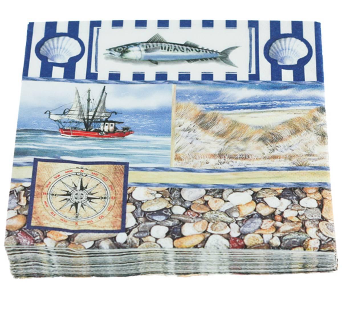 Servietter, maritimt m. skjell og makrell