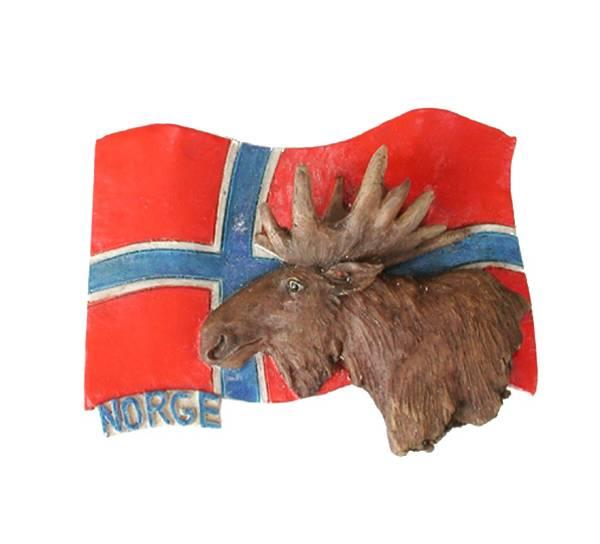 Bilde av Magnet, elg med flagg