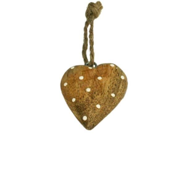 Bilde av Lite hjerte av tre med hvite prikker, for