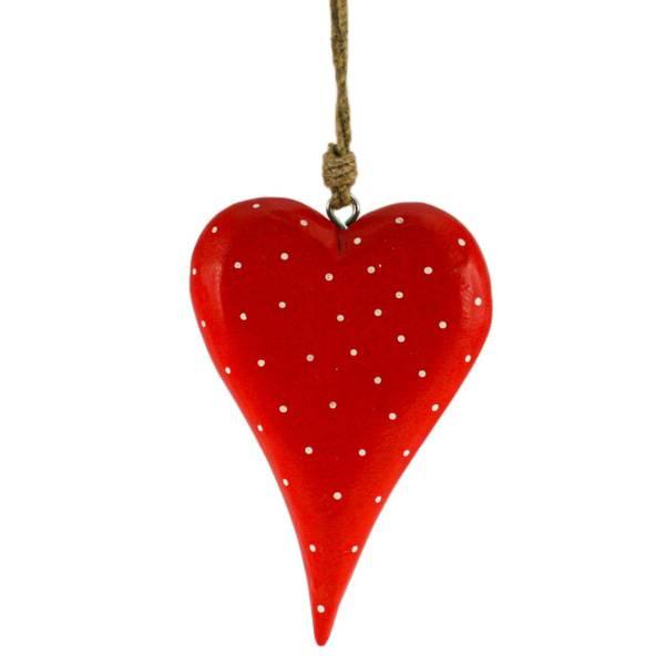 Bilde av Rødt stort hjerte av tre med hvite prikker, for