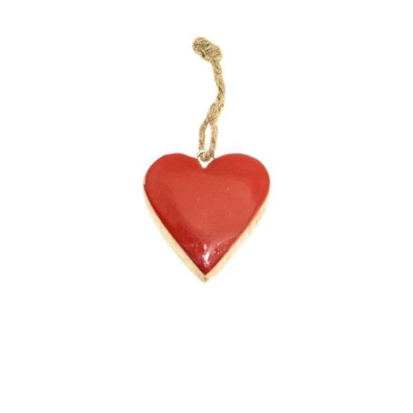Bilde av Rødt blankt hjerte av tre, for oppheng, F-design