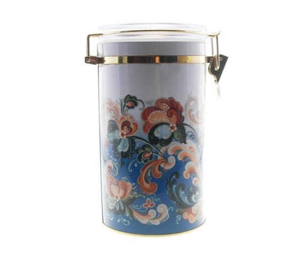 Bilde av Kaffeboks, rosemaling, blå
