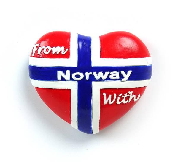 Bilde av Magnet, hjerte, norsk flagg From Norway with love