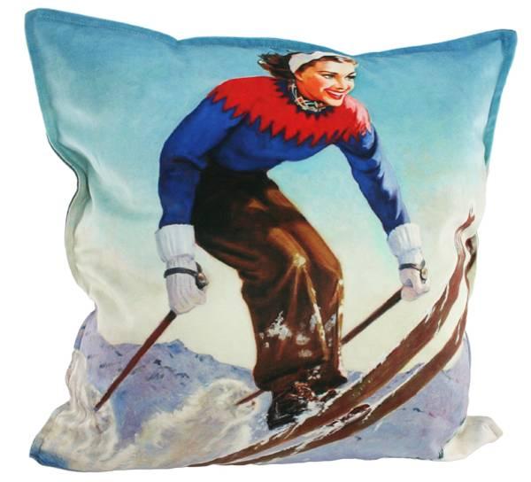 Bilde av Velourpute med fyll, dame på ski