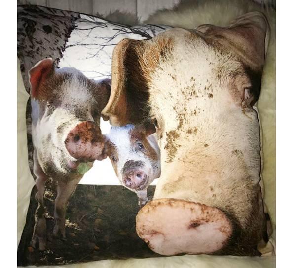 Bilde av Velourpute med fyll, tre små griser